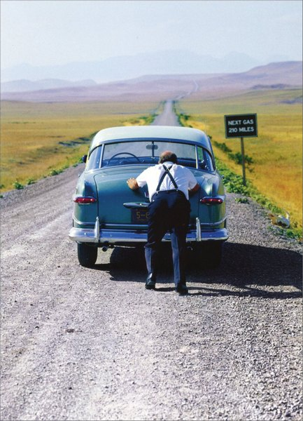 Old Man Car (1 card/1 envelope) Funny Birthday Card - FRONT: No Text  INSIDE: The joy is in the journey. Happy Birthday