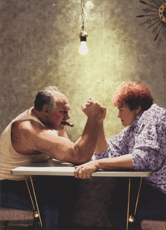 Arm Wrestling Couple (1 card/1 envelope) - Anniversary Card - FRONT: No Text  INSIDE: Still holding hands! Happy Anniversary