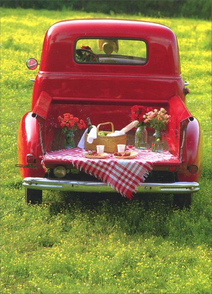Tail-Gate Party (1 card/1 envelope) Valentine's Day Card - FRONT: No Text  INSIDE: Here's to an old-fashioned kind of love!  Happy Valentine's Day