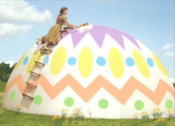 Woman Decorating Giant Egg (1 card/1 envelope) Easter Card - FRONT: No Text  INSIDE: You�re going to need a bigger basket!  Happy Easter