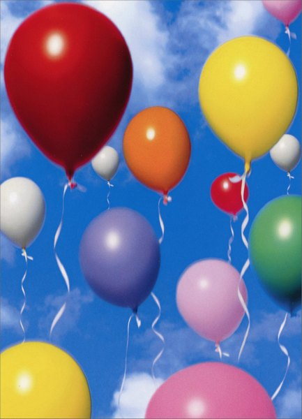 Floating Balloons (1 card/1 envelope) Birthday Card - FRONT: No Text  INSIDE: A great day to celebrate. Happy Birthday
