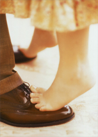 Girls' Feet on Dad's Shoes (1 card/1 envelope) Father's Day Card - FRONT: No Text  INSIDE: With every step, I love you more.  Happy Father's Day!