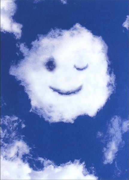 Smiley Face Cloud (1 card/1 envelope) Blank Card - FRONT: No Text  INSIDE: Blank