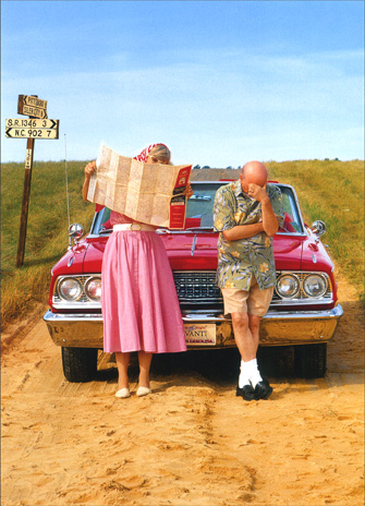 Lost Couple with Map (1 card/1 envelope) Funny Anniversary Card - FRONT: No Text  INSIDE: Still lost in love! Happy Anniversary