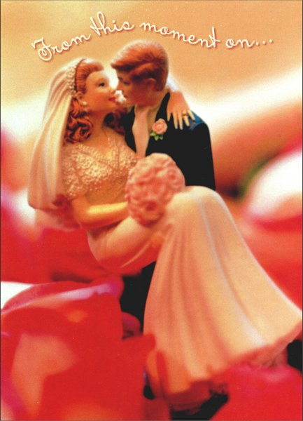 Figurine Groom Carries Bride (1 card/1 envelope) Wedding Card - FRONT: From this moment on..  INSIDE: ..wishing you all the love your hearts can hold!