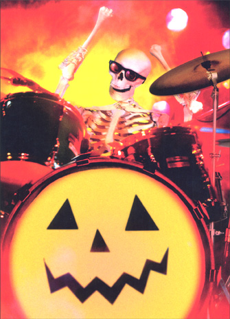 Skeleton Drummer (1 card/1 envelope) Halloween Card - FRONT: No Text  INSIDE: Hope it's banging!  Happy Halloween