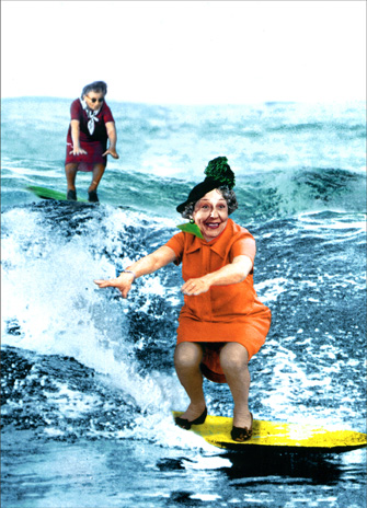 Women Surfers (1 card/1 envelope) Funny Birthday Card - FRONT: No Text  INSIDE: If we're going to retain water, we might as well have some fun with it!  Happy Birthday