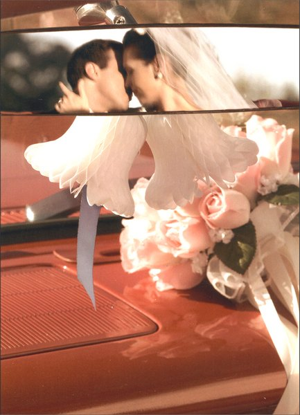 Wedding Couple Rearview Mirror (1 card/1 envelope) Wedding Card - FRONT: No Text  INSIDE: Wishing you every happiness!  Congratulations on your wedding