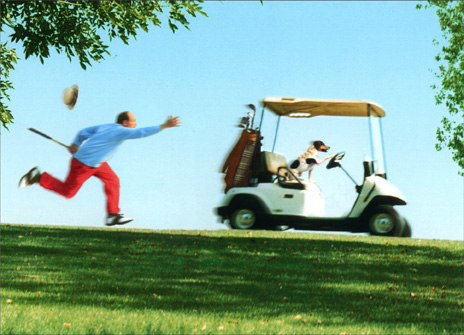 Guy Running After Golf Cart (1 card/1 envelope) Funny Father's Day Card - FRONT: No Text  INSIDE: Who�s your caddie?!  Happy Father's Day from the pup