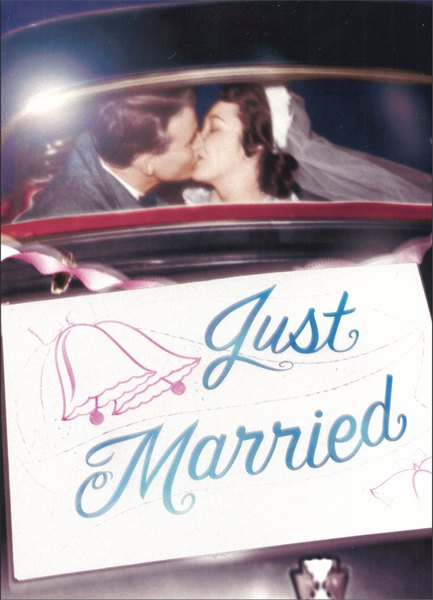 Couple in Back Seat (1 card/1 envelope) - Wedding Card - FRONT: Just Married  INSIDE: Best kisses!  Congratulations to the happy couple