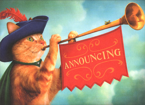 Cat with Horn (1 card/1 envelope) Pet Announcement Card - FRONT: Announcing  INSIDE: The kingdom has a new ruler!  Name:    Arrived on:    Proud parents: