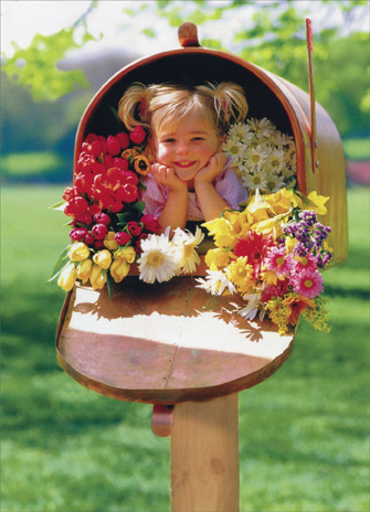 Girl, Wildflowers, Mailbox (1 card/1 envelope) Thank You Card - FRONT: A girl is inside a large mailbox with some wild flowers  INSIDE: Bunches and bunches of thanks!