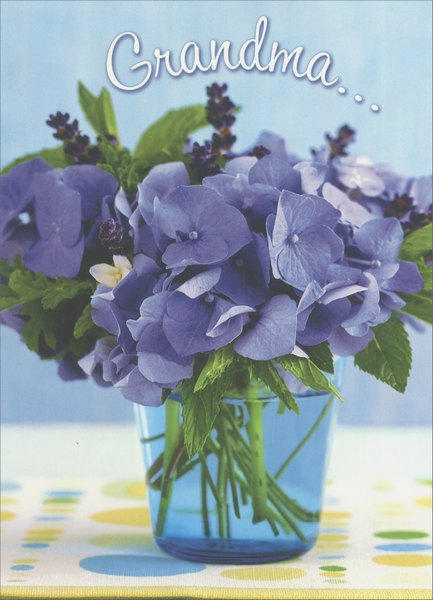 Purple Hydrangeas In Blue Jar (1 card/1 envelope) Mother's Day Card - FRONT: Grandma..  INSIDE: I have a heart full of reasons!  Happy Mother's Day