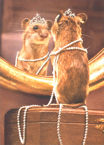 Mouse Looking in Mirror (1 card/1 envelope) Birthday Card - FRONT: No Text  INSIDE: It's your day to sparkle!  Happy Birthday