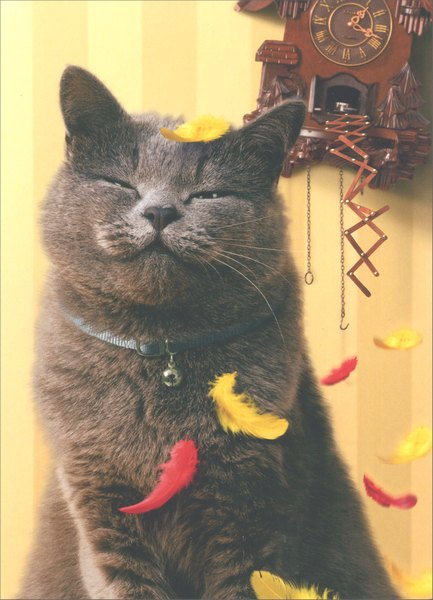 Satisfied Cat with Cuckoo Clock (1 card/1 envelope) Birthday Card - FRONT: No Text  INSIDE: Who says you can't stop time?  Happy Birthday
