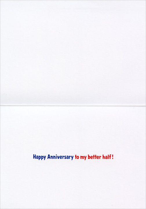Sports Fan Dogs (1 card/1 envelope) Anniversary Card - FRONT: No Text  INSIDE: Happy Anniversary to my better half!