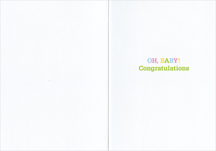 Babies in Sleepers (1 card/1 envelope) New Baby Card - FRONT: No Text  INSIDE: Oh Baby! Congratulations