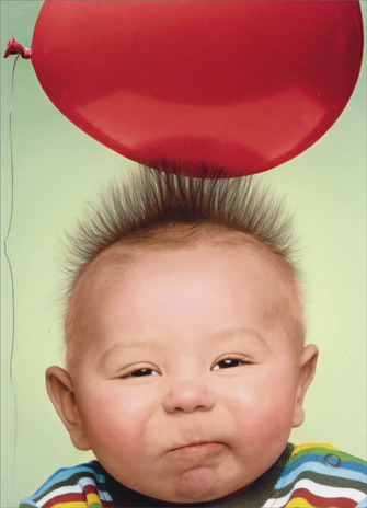 Baby with Static Hair (1 card/1 envelope) Funny Birthday Card - FRONT: No Text  INSIDE: Sending you lots of positive energy! Happy Birthday