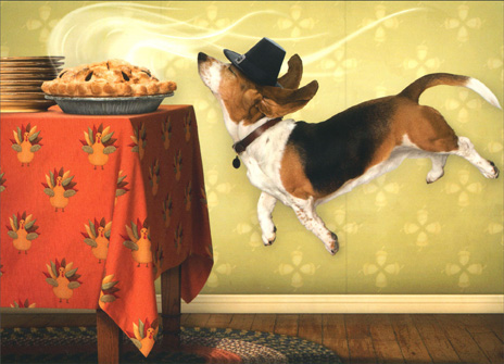 Dog Floating, Smelling Food (1 card/1 envelope) Beagle Thanksgiving Card - FRONT: No Text  INSIDE: Something special�s in the air! Happy Thanksgiving