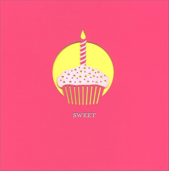Square Cupcake and Candle (1 card/1 envelope) Birthday Card - FRONT: Sweet  INSIDE: Happy Birthday Cupcake!
