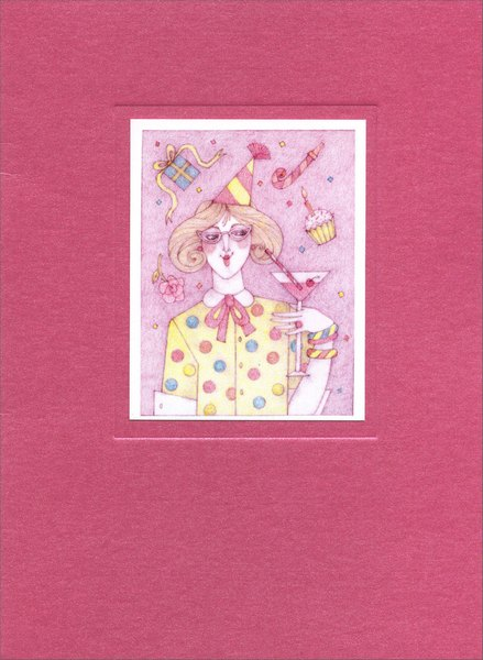 Party Girl (1 card/1 envelope) Birthday Card - FRONT: No Text  INSIDE: Cheers! Happy Birthday