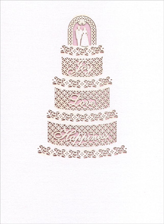 Laser Cut Cake with Words (1 card/1 envelope) Wedding Card - FRONT: Joy, Love, Happiness  INSIDE: ..Today and always! Congratulations.