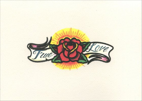 True Love Tattoo (1 card/1 envelope) - Wedding Card - FRONT: True Love  INSIDE: Wishing you a lifetime of happiness.