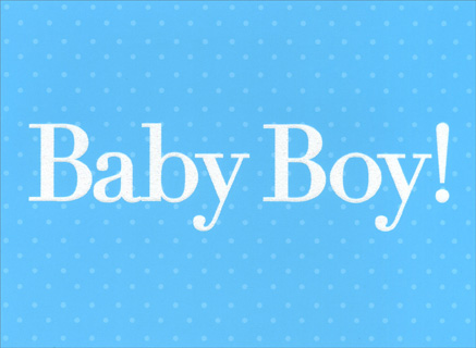 Baby Boy! (1 card/1 envelope) New Baby Card - FRONT: Baby Boy!  INSIDE: Congratulations on your new baby.