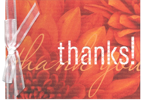Thanks Die Cut (1 card/1 envelope) - Thank You Card - FRONT: thanks!  INSIDE: Thank You!