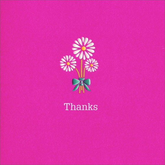 Square Floral Laser Cut (1 card/1 envelope) - Thank You Card - FRONT: Thanks  INSIDE: ..a bunch!