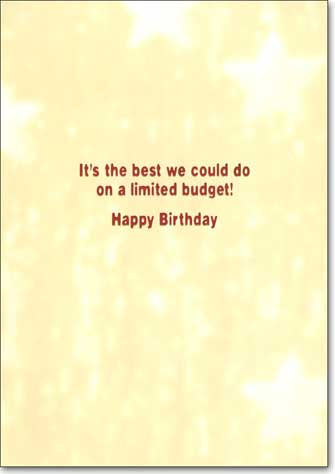 Bulldog Stripper (1 card/1 envelope) Funny Birthday Card - FRONT: No Text  INSIDE: It's the best we could do on a limited budget! Happy Birthday