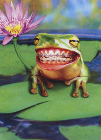 Frog with Braces (1 card/1 envelope) Encouragement Card - FRONT: No Text  INSIDE: Things will straighten out!
