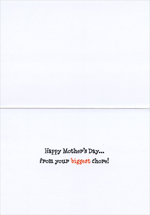 Baby Doing Dishes (1 card/1 envelope) Avanti Mother's Day Card - FRONT: No Text  INSIDE: Happy Mother's Day.. From your biggest chore!