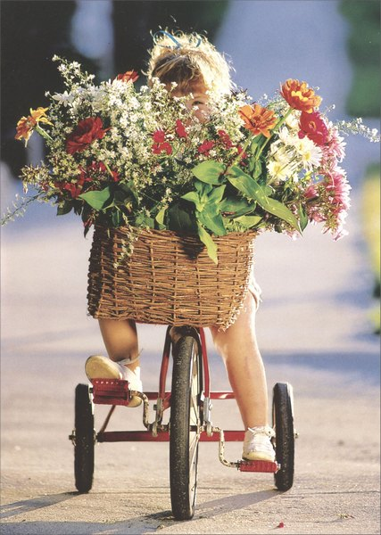 Girl on Trike with Flowers (1 card/1 envelope) - Mother's Day Card - FRONT: No Text  INSIDE: I love you this much! Happy Mother's Day