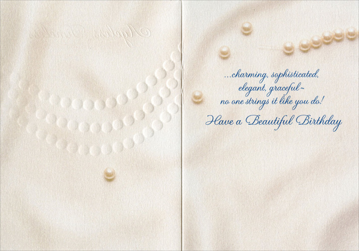 Ageless (1 card/1 envelope) Avanti A*Press Glitter Birthday Card - FRONT: Ageless,Timeless  INSIDE: ..charming, sophisticated, elegant, graceful - no one strings it like you do!  Have a Beautiful Birthday
