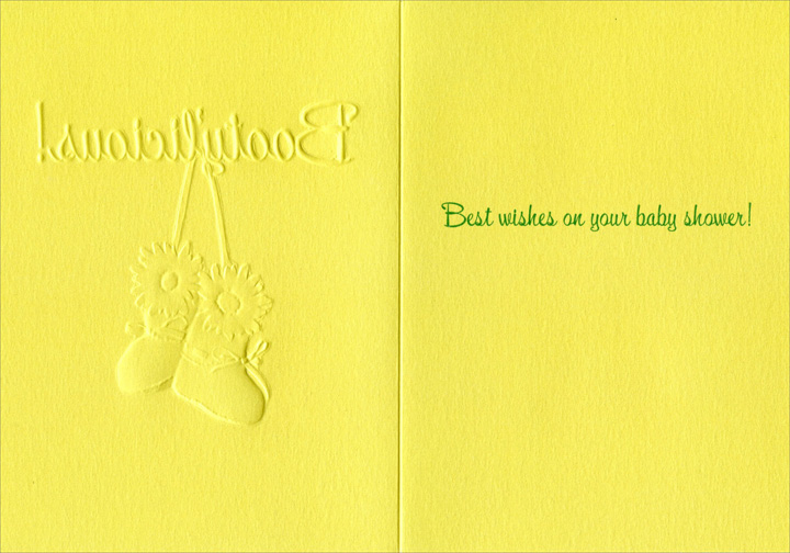 Booty'licious (1 card/1 envelope) Avanti A*Press Embossed Baby Shower Card - FRONT: Booty'licious!  INSIDE: Best wishes on your baby shower!