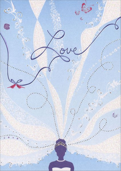Bridal Veil (1 card/1 envelope) Avanti A*Press Glitter Bridal Shower Card - FRONT: Love  INSIDE: A celebration of love! Best wishes on your Bridal Shower