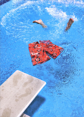 Swim Trunk in Pool (1 card/1 envelope) Avanti Funny Retirement Card - FRONT: No Text  INSIDE: No more suits! Happy Retirement