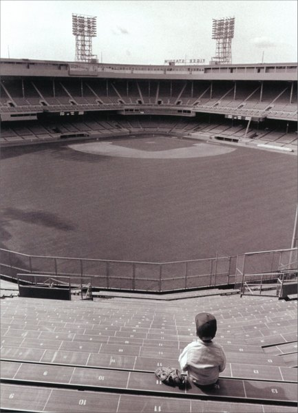 Boy in Baseball Stadium (1 card/1 envelope) Blank Card - FRONT: A young boy sits in the stands of historic Tiger Stadium  INSIDE: Blank Inside