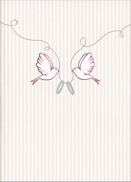 Love Birds with Wedding Rings (1 card/1 envelope) Avanti Press Wedding Card - FRONT: No Text  INSIDE: Happy Wedding Day