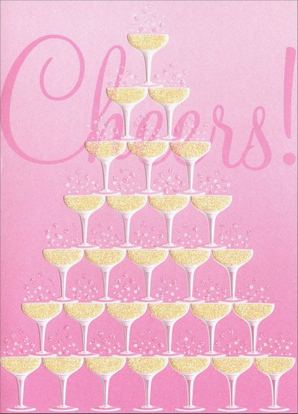 Champagne Glass Tower (1 card/1 envelope) Avanti Press Wedding Card - FRONT: Cheers!  INSIDE: Here's to the happy couple! Congratulations on your Wedding Day