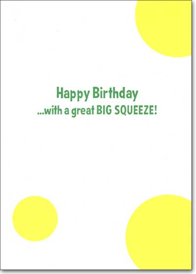 Lemonade Dog (1 card/1 envelope) Avanti Press Funny Bulldog Birthday Card - FRONT: No Text  INSIDE: Happy Birthday.. with a great BIG SQUEEZE!