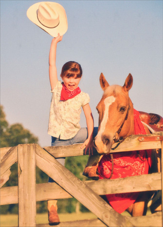 Girl & Horse Howdy (1 card/1 envelope) - Retirement Card - FRONT: No Text  INSIDE: Happy Trails!