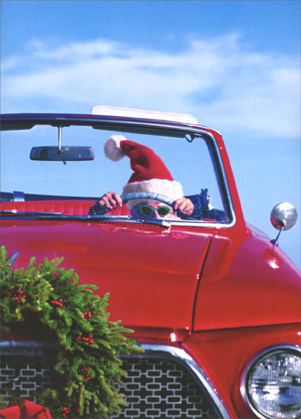 Santa Gal In Rambler (1 card/1 envelope) Avanti Press Funny Christmas Card - FRONT: No Text  INSIDE: I brake for reindeer! Happy Holidays