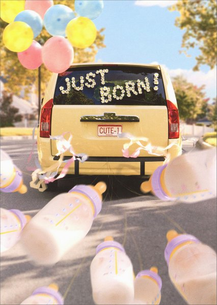 Just Born Minivan (1 card/1 envelope) - New Baby Card - FRONT: No Text  INSIDE: Congratulations on your new baby!