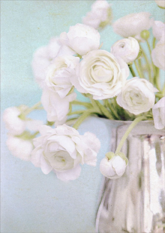 White Flowers In Vase (1 card/1 envelope) - Sympathy Card - FRONT: No Text  INSIDE: Someone who touched so many lives will be warmly remembered. So very sorry for your loss