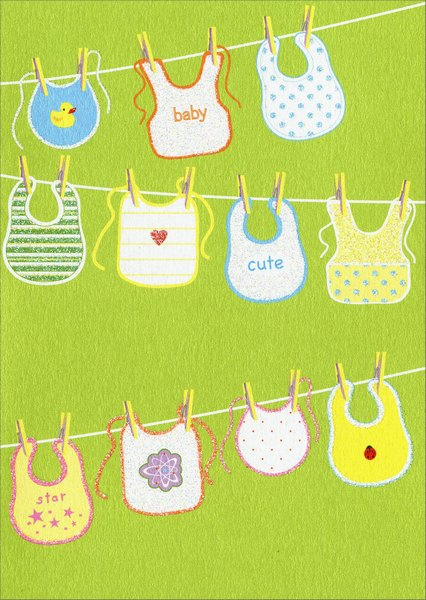 Baby Bibbs (1 card/1 envelope) Avanti A*Press Glitter New Baby Card - FRONT: baby  cute  star  INSIDE: Wash, Rinse, Repeat.  Congratulations on your new bundle of joy!