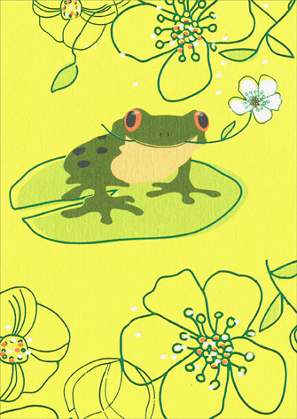 Frog On Lily Pad (1 card/1 envelope) Avanti A*Press Glitter Get Well Card - FRONT: No Text  INSIDE: Hope to see you back at the pond soon.. Feel better!