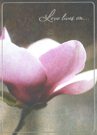 Magnolia Blossom (1 card/1 envelope) Avanti A*Press Sympathy Card - FRONT: Love lives on..  INSIDE: ..in our hearts forever.  Thinking of you at this difficult time.