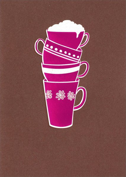 Stack Of Cups (1 card/1 envelope) Avanti A*Press Glitter Thank You Card - FRONT: No Text  INSIDE: Thanks a latte!